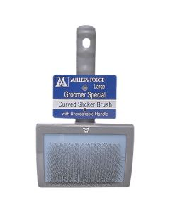Millers Forge Groomer Special Curved Slicker Brush with Unbreakable Handle [Large]