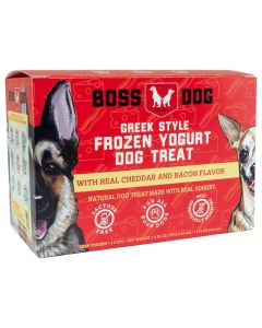 Boss Dog Greek Style Frozen Yogurt Dog Treat with Real Cheddar and Bacon Flavor