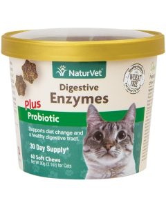 NaturVet Digestive Enzymes + Probiotic for Cats [90g - 60 Soft Chews]