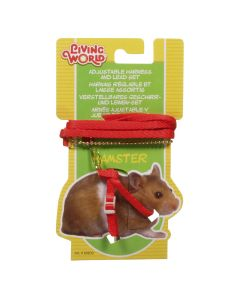 Living World Harness & Lead Set for Hamsters Red