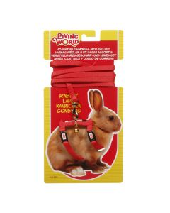 Living World Harness & Lead Set for Rabbits Red