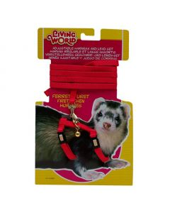 Living World Harness & Lead Set for Ferrets Red