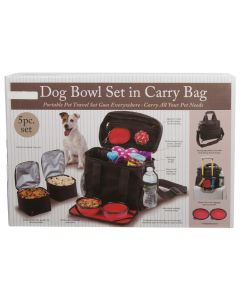 Paws Dog Bowl Set in Carry Bag