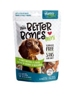 Zeus Better Bones Peanut Butter Flavour Chicken Wrapped Mini Bones [12 Pack]