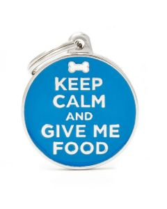 """My Family CHARMS """"Keep Calm and Give Me Food"""" Pet ID Tag"""