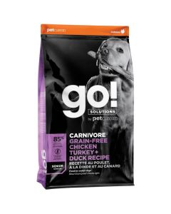 Go! Solutions Carnivore Grain-Free Chicken Turkey + Duck Senior Dog Food