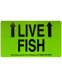 KC Pet Live Fish Declarations Label with Arrows