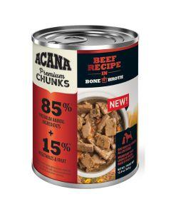 Acana Premium Chunks Beef Recipe in Bone Broth Dog Food [363g]