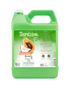 Tropiclean Papaya & Coconut Luxury 2-in-1 Pet Shampoo & Conditioner [1 Gallon]