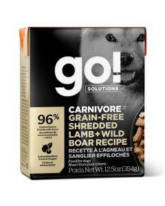 Go! Solutions Carnivore Grain-Free Shredded Lamb + Wild Boar Dog Food  [354g]