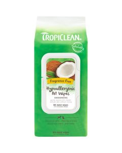 Tropiclean Fragrance Free Hypoallergenic Pet Wipes [100 Wipes]